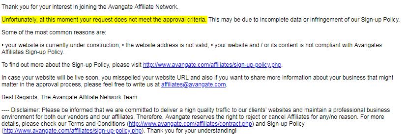 Avangate代理申请被拒邮件