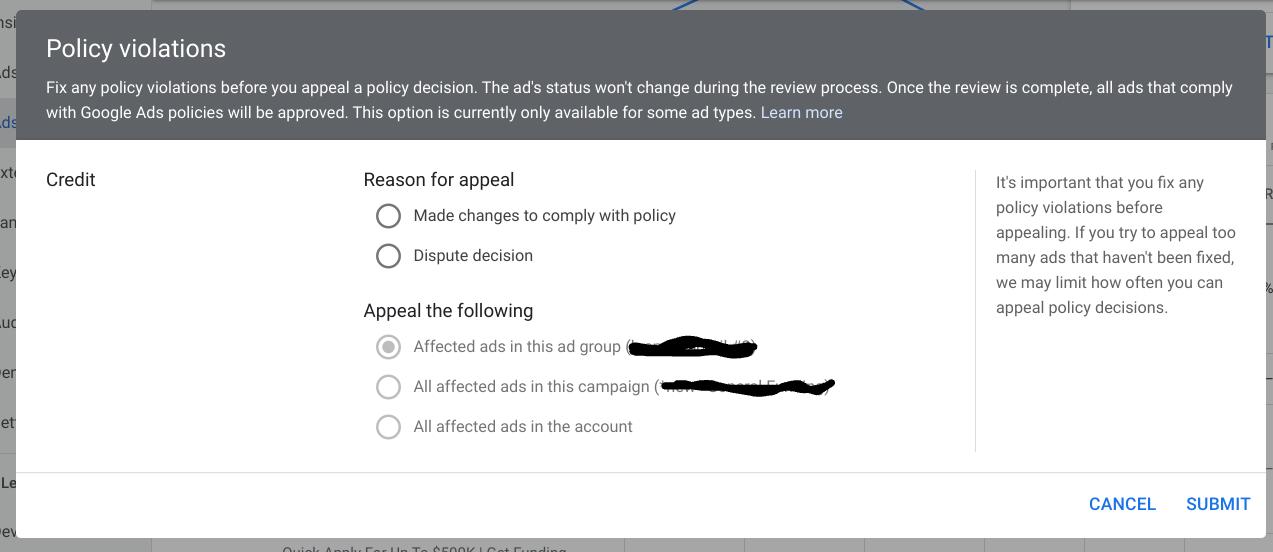 向 Google Ads 提出申诉。