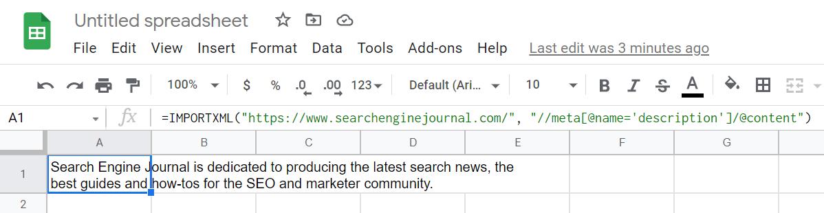 SEJ 主页元描述使用 IMPORTXML 提取。